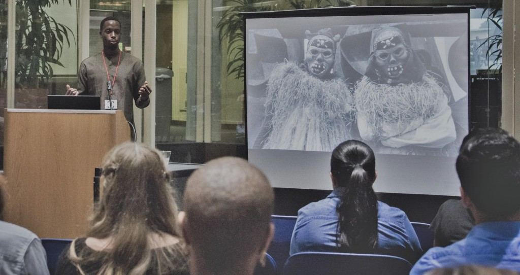 Founder, Obafemi Ogunleye, lecturing at 'Reviving Benin' exhibition. St. Mary's, University. 2015.